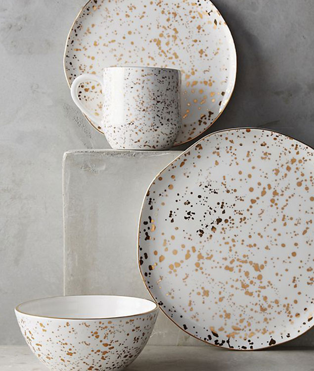 gold speckled dinner plates