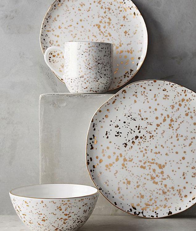 gold speckled dinner plates